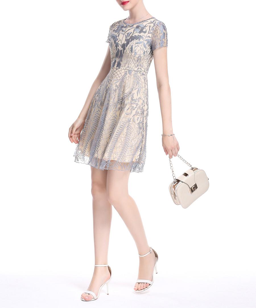 Apricot embroidered mini dress Sale - lanelle