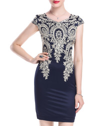 Navy cotton blend embroidered dress