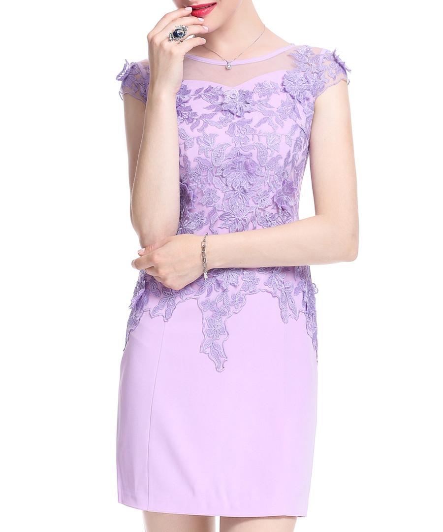 Lavender cotton blend lace dress Sale - lanelle