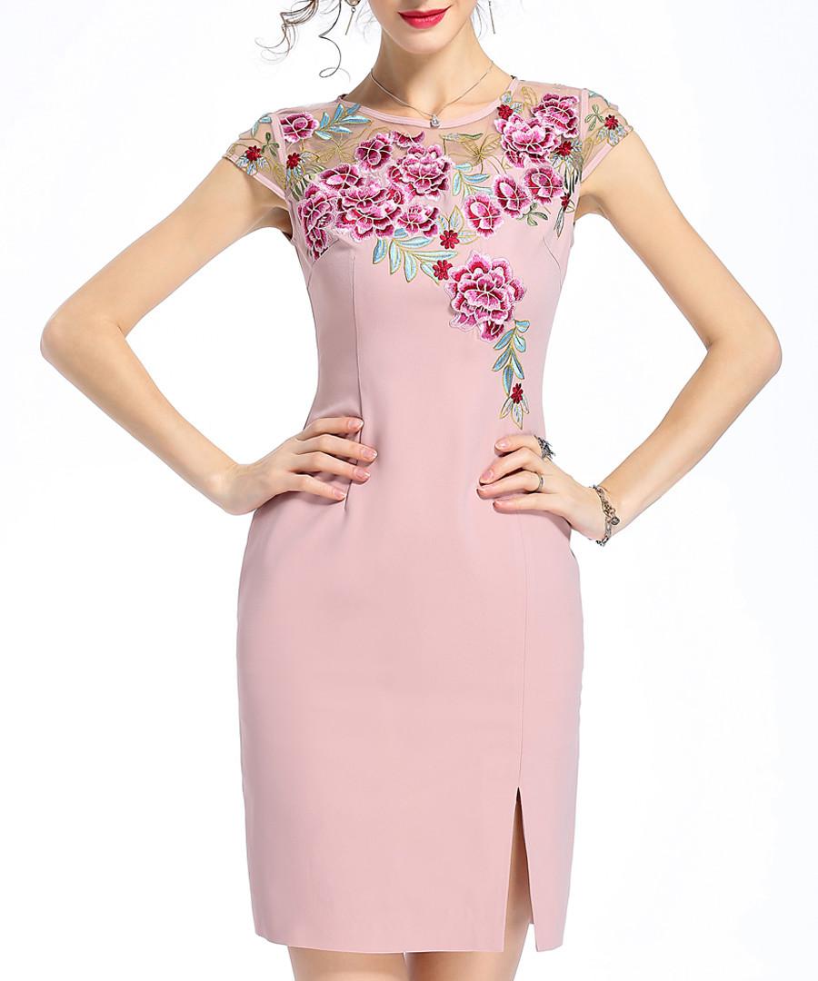 Pink embroidered slit mini dress Sale - lanelle