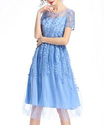 Light blue mesh embroidered dress
