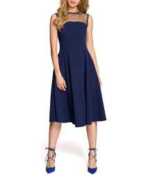 Navy mesh panel sleeveless midi dress