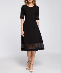 Black mesh panel midi dress