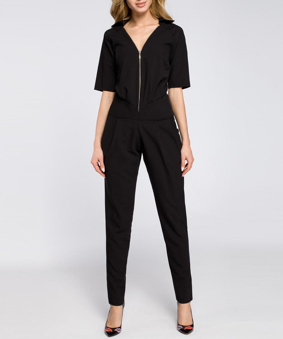 Black zip-up short sleeve jumpsuit Sale - made of emotion