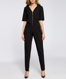 Black zip-up short sleeve jumpsuit
