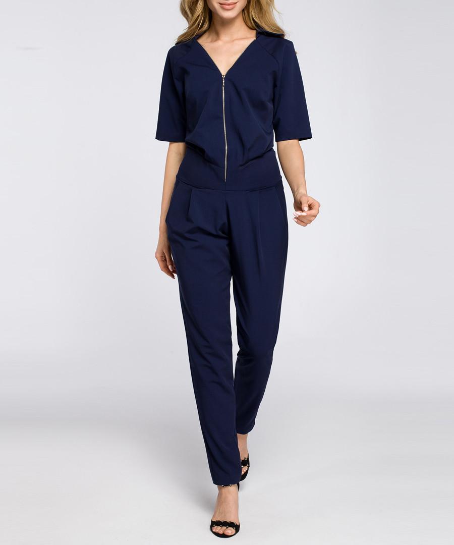 Navy zip-up short sleeve jumpsuit Sale - made of emotion