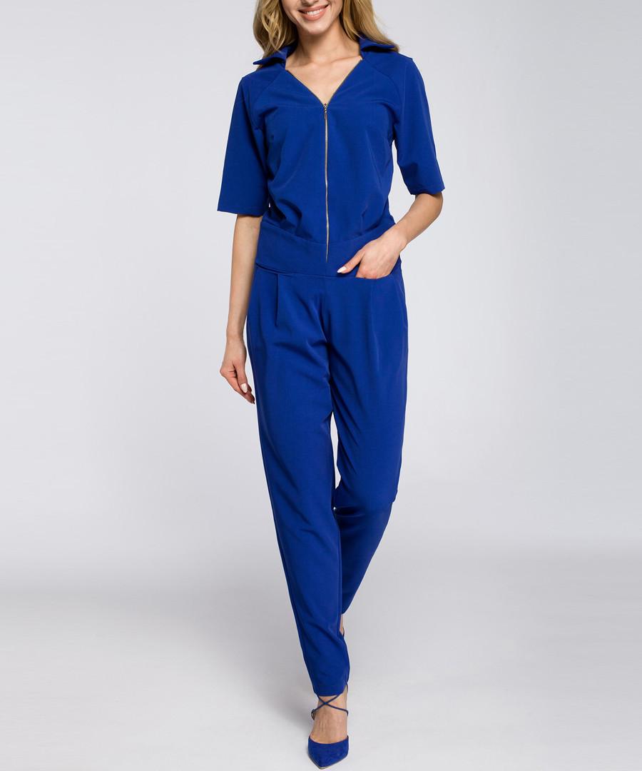 Royal blue zip-up short sleeve jumpsuit Sale - made of emotion