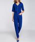 Royal blue zip-up short sleeve jumpsuit Sale - made of emotion Sale