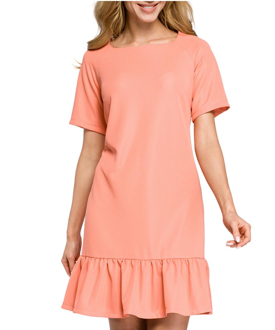 Coral short sleeve ruffle hem dress Sale - made of emotion