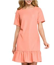 Coral short sleeve ruffle hem dress