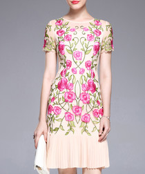 Apricot embroidered pleated dress
