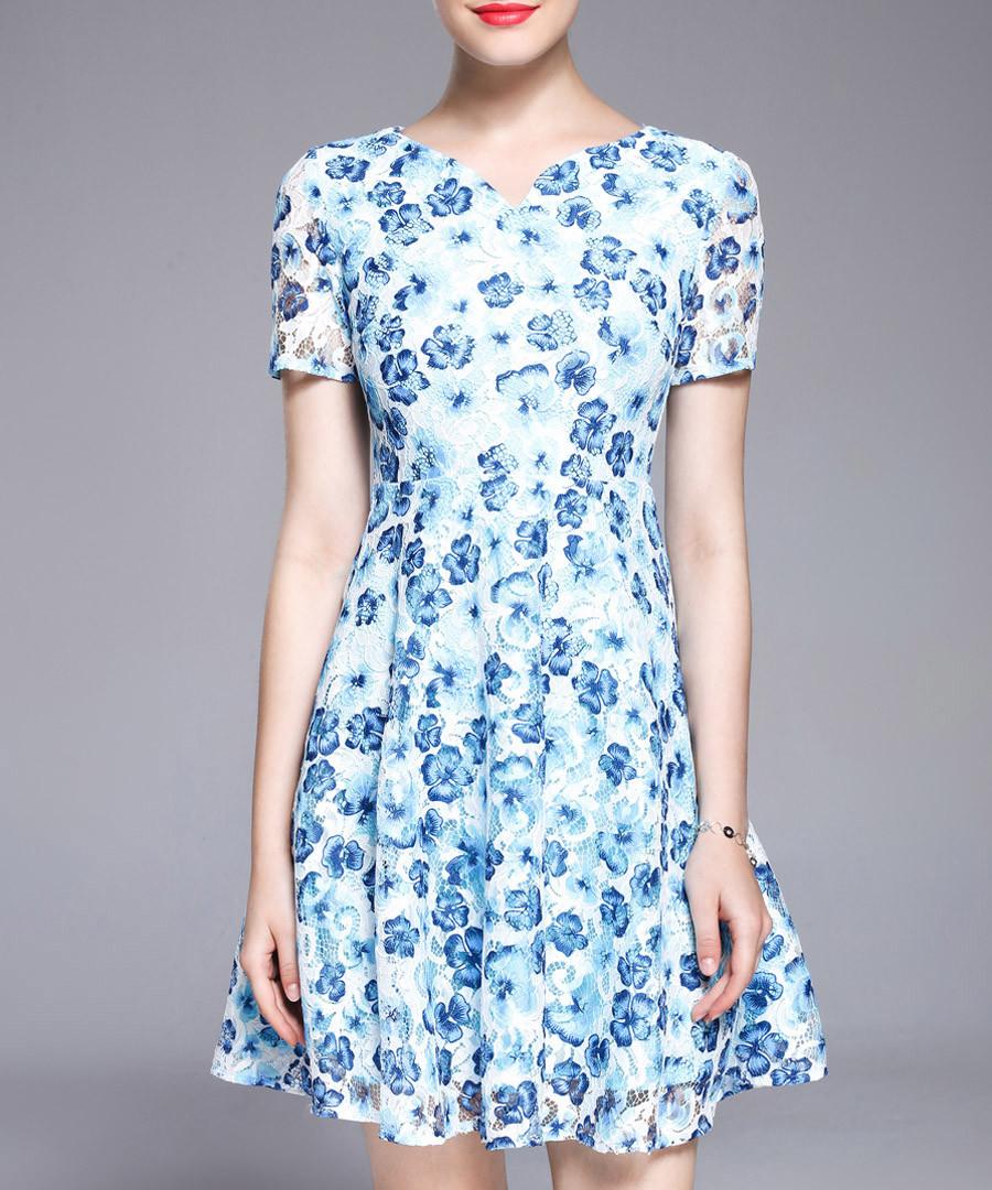 Blue floral print floaty dress Sale - lanelle