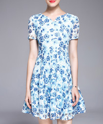 Blue floral print floaty dress