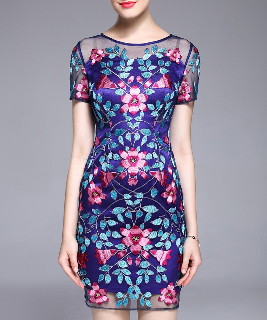 Blue embroidered mini dress Sale - lanelle