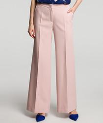 Powder pink wide-leg trousers
