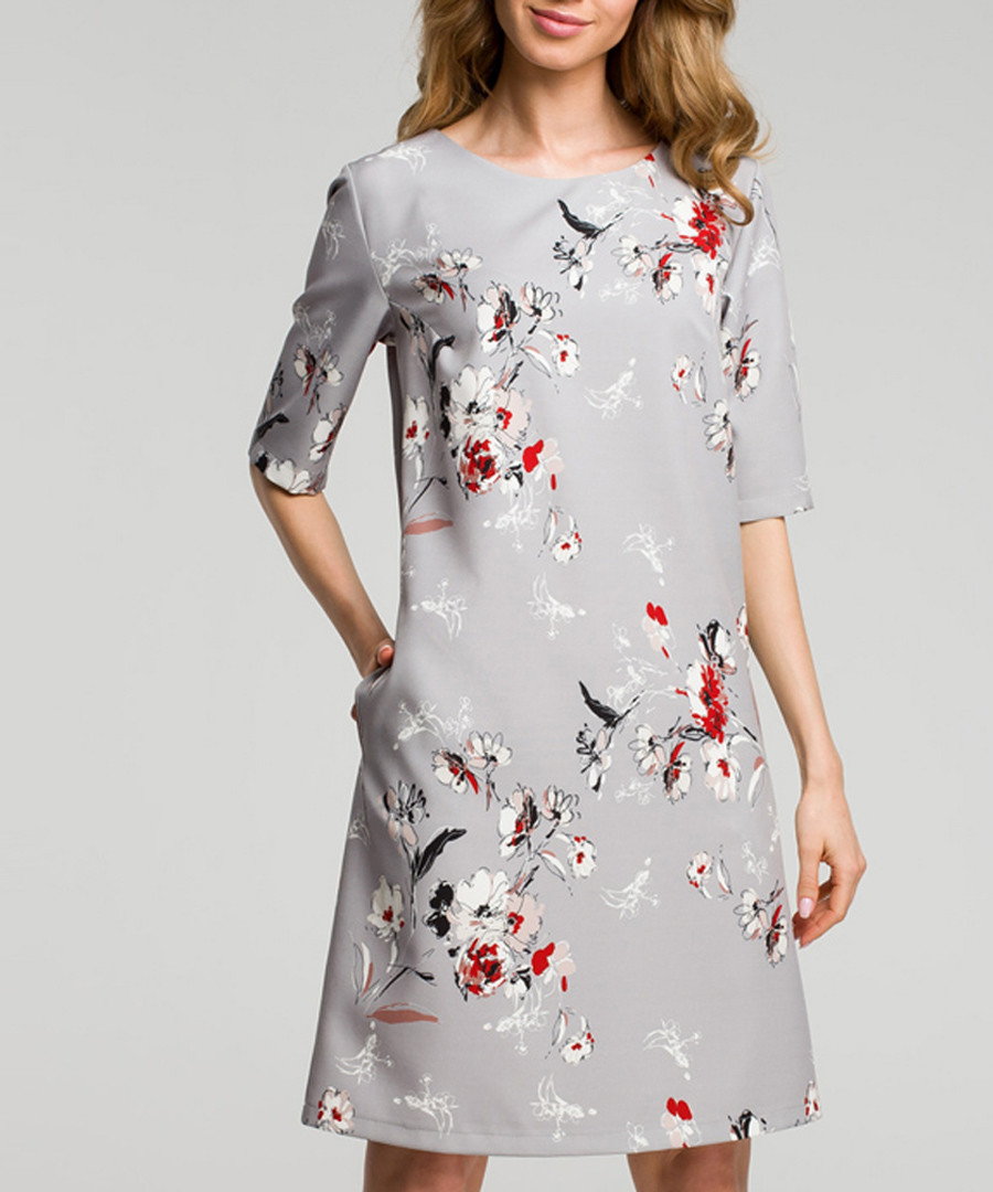 Grey floral print A-line dress Sale - made of emotion