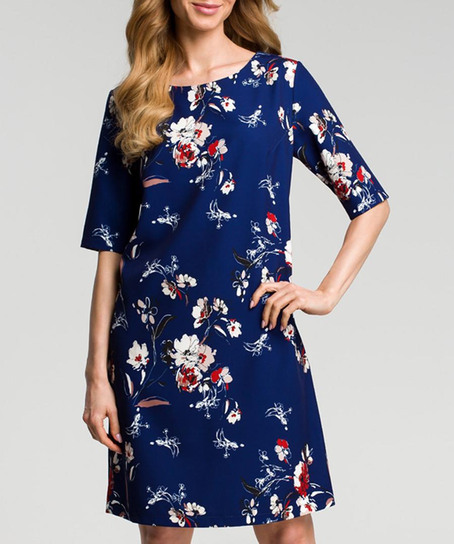 Navy floral print A-line dress Sale - made of emotion