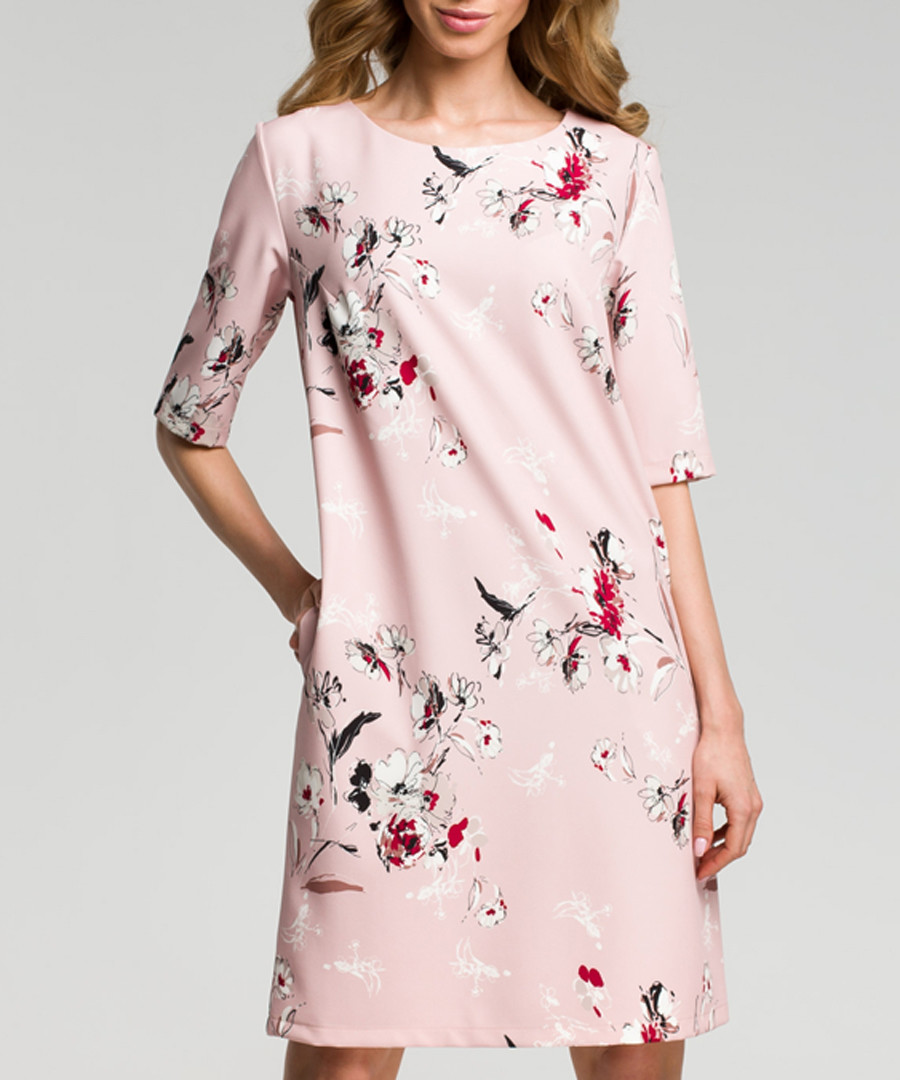 Powder pink floral print shift dress Sale - made of emotion
