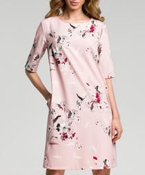 Powder pink floral print A-line dress