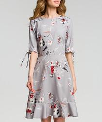 Grey floral print ruffle hem dress