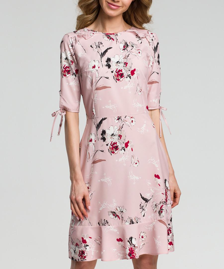 Pink floral print ruffle hem dress Sale - made of emotion