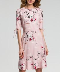 Pink floral print ruffle hem dress