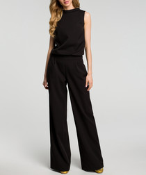 Black sleeveless wide leg jumpsuit