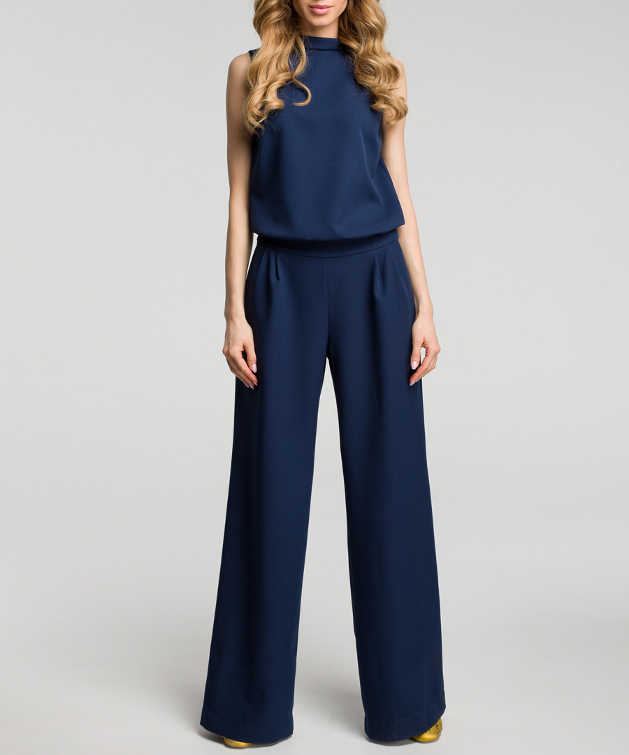 Navy sleeveless wide leg jumpsuit Sale - made of emotion