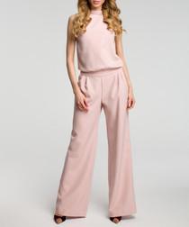 Light pink sleeveless wide leg jumpsuit