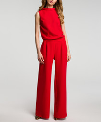 Red sleeveless wide leg jumpsuit