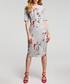 Grey floral print tie-neck dress Sale - made of emotion Sale