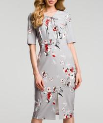 Grey floral print tie-neck dress