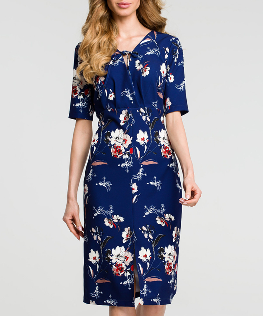 Navy floral print tie neck dress Sale - made of emotion