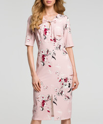 Powder pink floral print tie neck dress