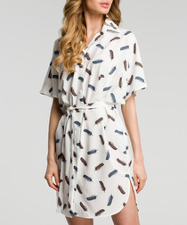Ecru feather print shirt dress