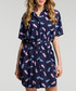Navy feather print shirt dress Sale - made of emotion Sale
