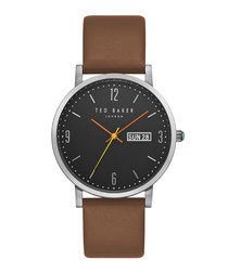 Grant brown leather strap steel watch