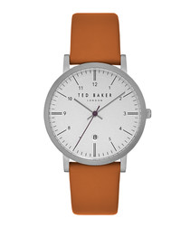 Samuel orange & white leather watch