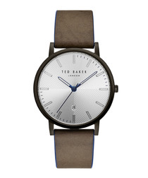 Dean brown leather strap steel watch