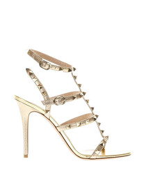 Women's gold leather stud heels