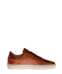 Jay St cognac leather lace-up sneakers