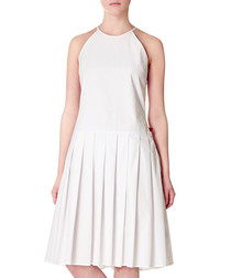 White pure cotton sleeveless dress