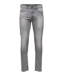 Grey cotton blend jeans