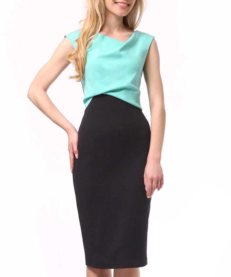 Black & mint sleeveless pencil dress Sale - Lila Kass