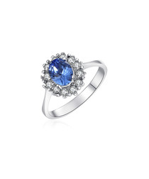 Silver-tone & blue crystal ring