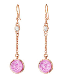 Rose gold-plated & pink drop earrings