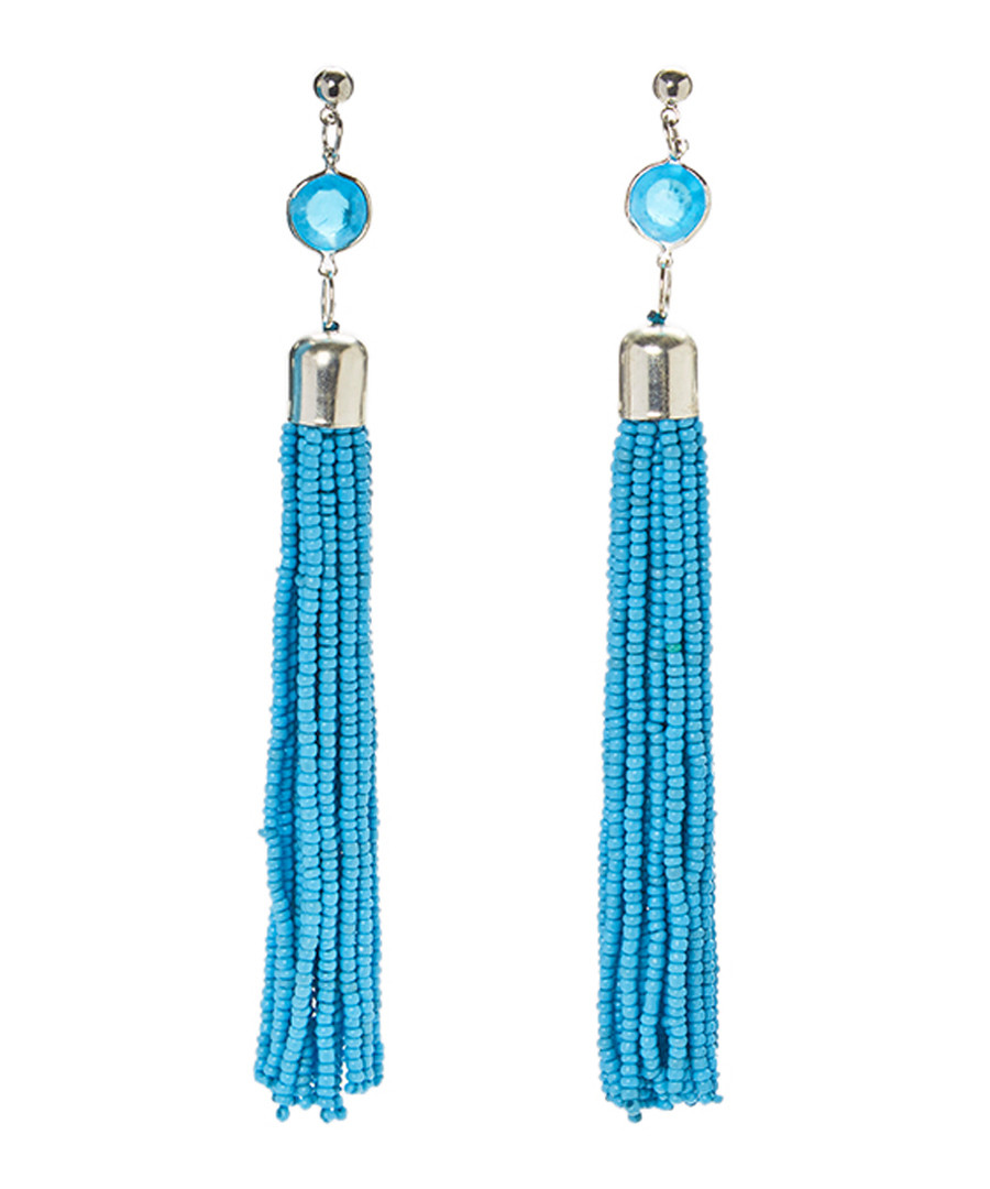 Turquoise beaded tassel earrings Sale - fig & molly