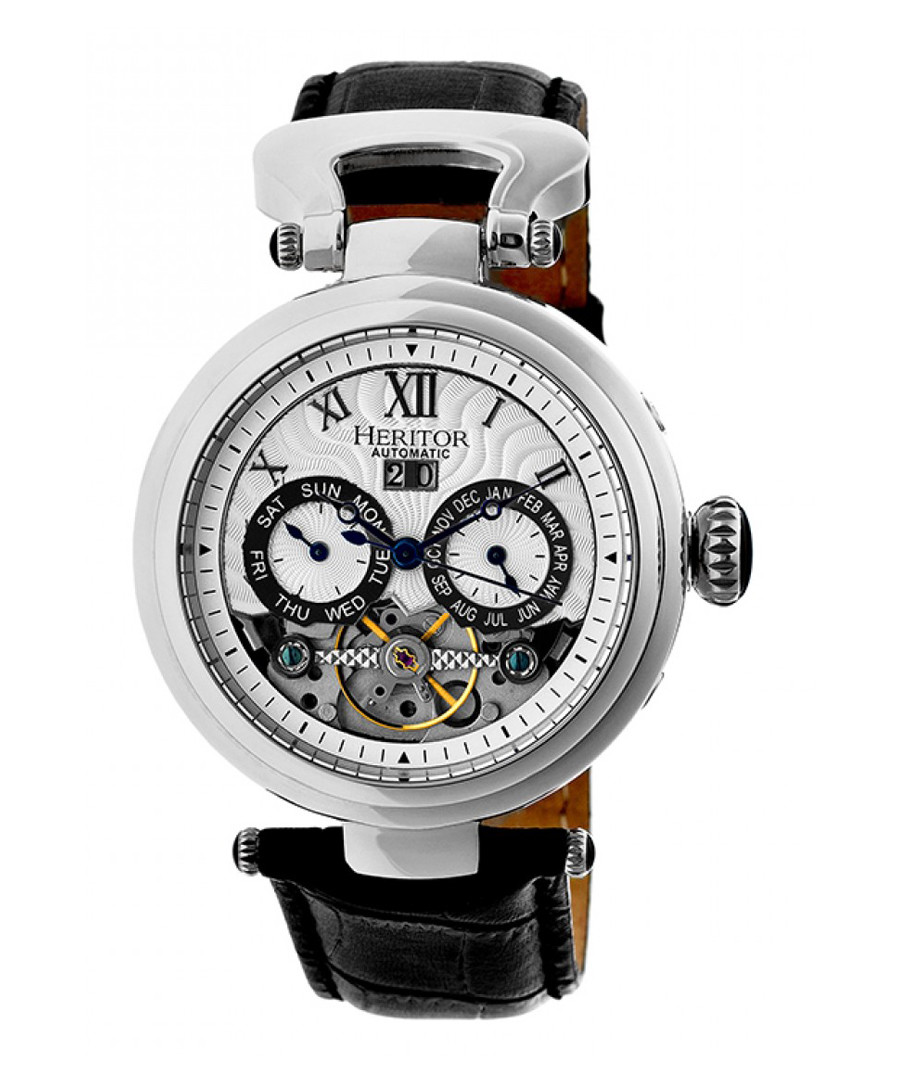 Ganzi black & silver-tone leather watch Sale - heritor automatic