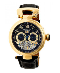 Ganzi black & gold-tone leather watch