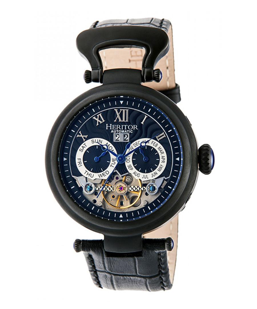 Ganzi black leather watch Sale - heritor automatic